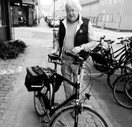 Peter, with his Dutch bicycle, in Denmark!